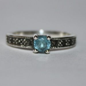 Jewelry - Blue Topaz and Marcasite Sterling Silver Ring NWT